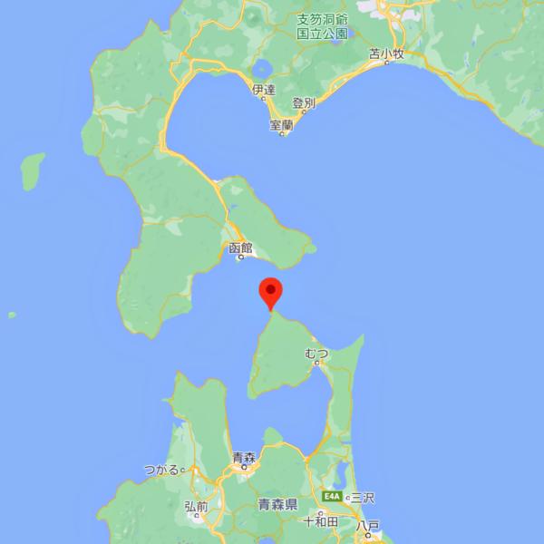 青森県の大間を示す地図